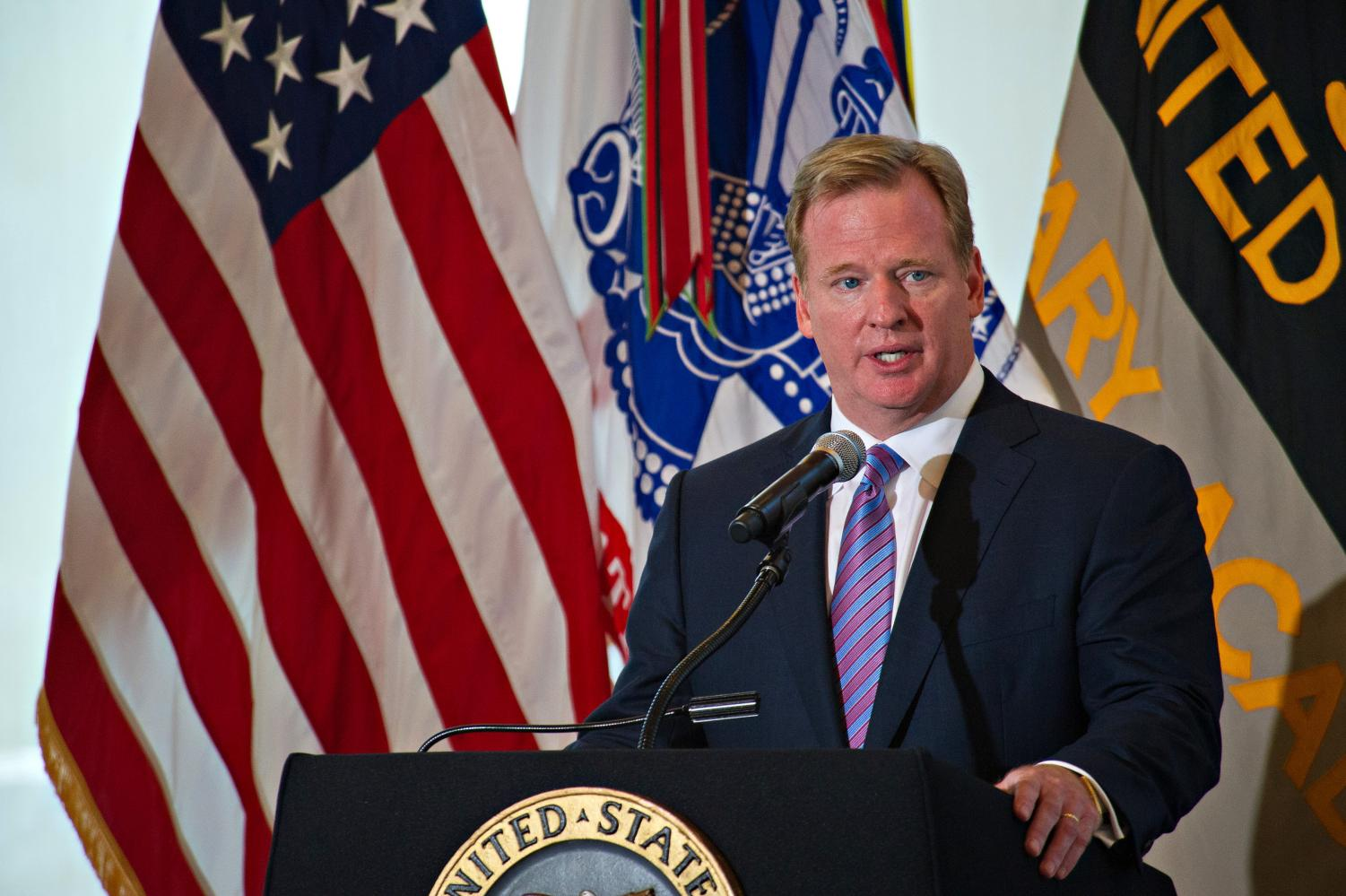 Commissioner Roger Goodell delivers remarks during an event at the U.S. Military Academy at West Point, N.Y. (SSG Teddy Wade)