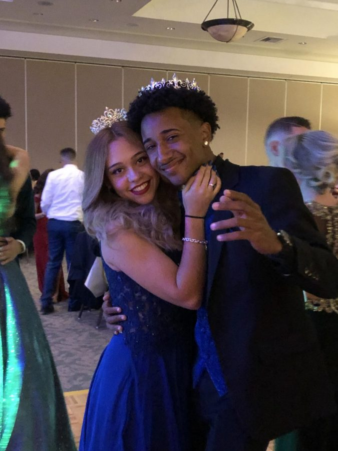 Prom+King+and+Queen+Keanne+Hiraldo+and+Jessica+Ortiz+take+the+dance+floor+together+one+final+time.