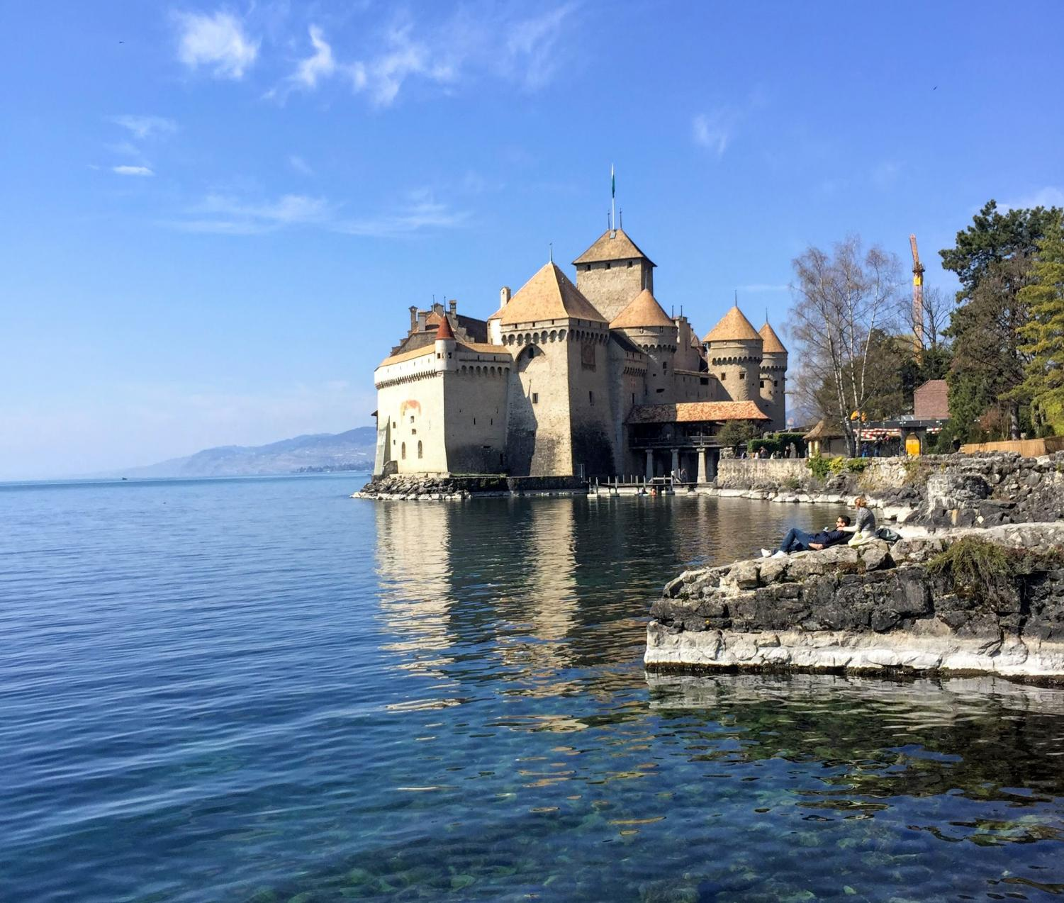 The Chateau of Chillon has beautiful views of Lake Geneva in Switzerland.