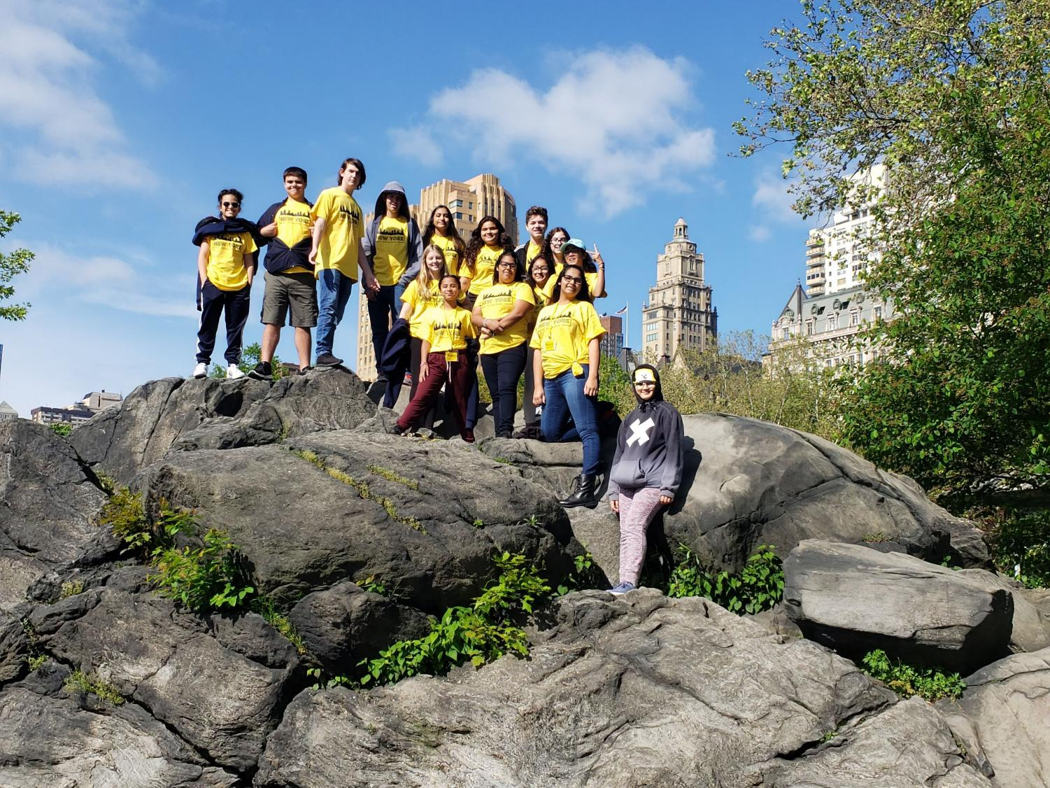 8th grade poses for a photo in Central Park, NYC.