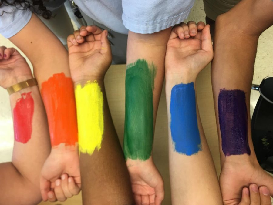 Students+and+English+Teacher%2C+Mrs.+Gardieff%2C+paint+their+arms+symbolizing+the+pride+flag.