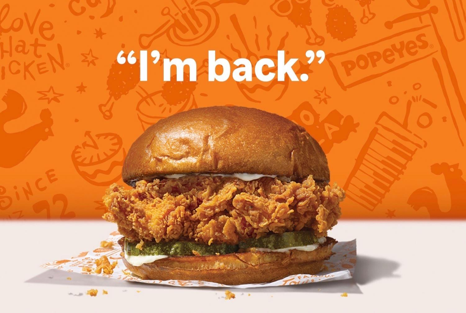 Notorious chicken sandwich  from Popeyes makes a return.