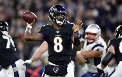Ravens' Quarterback and MVP candidate Lamar Jackson in the Ravens week 9 victory over the New England Patriots. (NFL Media/Photography)