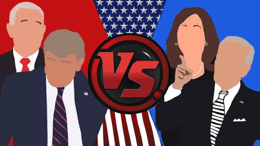 Clipart of President Trump, VP Mike Pence, Former VP Joe Biden, and Sen. Kamala Harris. Art made my Patrick Deliz.