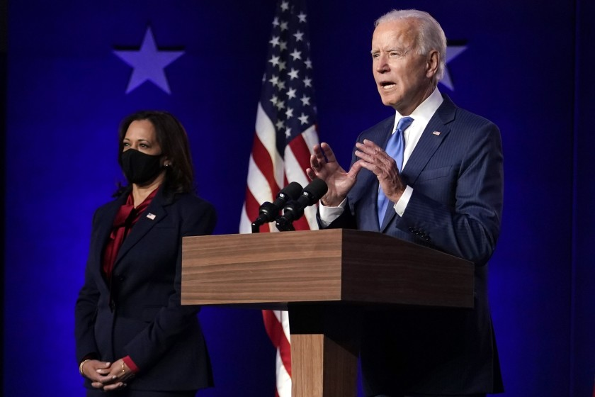 Former+Vice+President+Joe+Biden+speaks+Friday+in+Wilmington%2C+Del.%2C+as+his+running+mate%2C+California+Sen.+Kamala+Harris%2C+listens.+