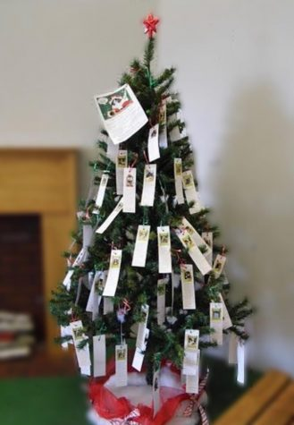 The angels on the tree by the front office each hold an item for a student at our school.  Photo Credit: Creative Commons