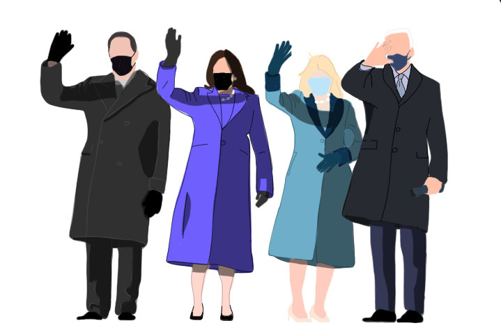 President Joe Biden, First Lady Jill Biden, Vice President Kamala Harris, and Second Gentleman Doug Emhoff take office during a pandemic.