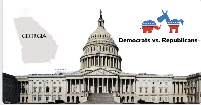 Georgia run off election leads to many perspectives from democrats and republicans based on the riots held at the Capitol. Picture of Capitol building - Alejandro Barba democrat donkey and republican elephant- tbs.news.net