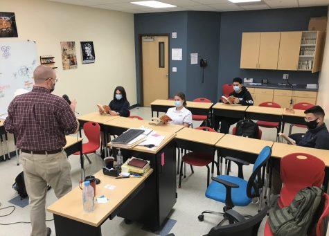 Social studies teacher Mr. Jeffrey Childers teaches his sixth period humanities class Photo Credit: Photo by Freshman Matthew Mackivitch