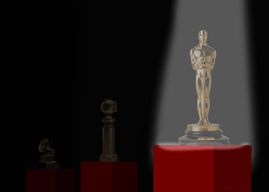 The+picture+depicts+the+progression+of+the+ceremonies%2C+as+the+Oscar+award+is+spotlighted.+%0AGraphic+by+Patrick