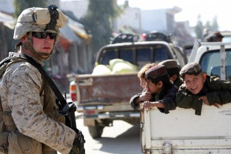 American troops in Afghanistan have now left the millions of people helped by American occupation behind.   Credit: File:Flickr - DVIDSHUB - Marines work to build relationships with the Afghan people (Image 1 of 4).jpg by DVIDSHUB is licensed under CC BY 2.0